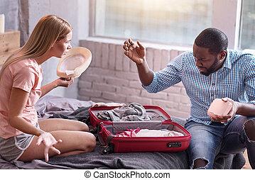 論争, 恋人, 若い, 準備, 休暇