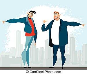 論争, ∥間に∥, 2人の男性たち