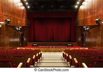 講堂, ∥で∥, 赤, 椅子, そして, 赤いカーテン