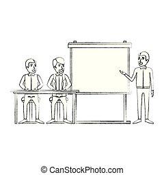 講師, シルエット, ビジネス, モデル, 経営者, 人々, ぼんやりさせられた, 机, 対, presentacion, 人