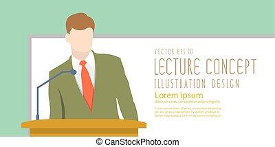 講師, 地位, 平ら, 寄付, whiteboard, presentation., vector., 前部, 講義, ∥あるいは∥