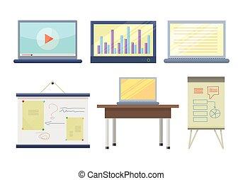 講義, セット, 道具, セミナー, イラスト