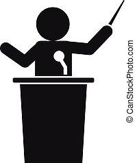 講義, 単純である, スタイル, スピーカー, アイコン