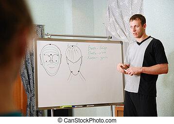 講義, 顔のマッサージ