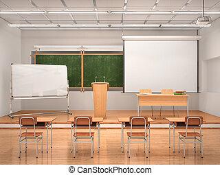 講課廳, interior., 3d, 插圖