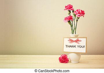 謝謝你卡片, 由于, 粉紅色的荷蘭石竹