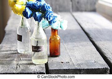 謝謝, 標簽, 以及, 美麗, 花, 在, the, 瓶子