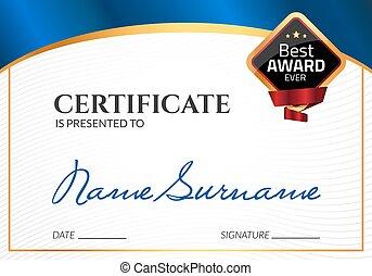 證明, 樣板, 豪華, award., 矢量, 事務, 畢業証書, 由于, 封印, stamp., 禮物, 附單, 或者, 成功, 成就