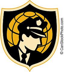 警備員, ∥あるいは∥, 警察オフィス, ∥で∥, 地球, 中に, 背景, セット, 中, a, shield.