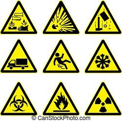 警告, セット, 4, サイン