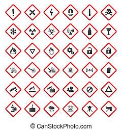 警告, 以及, 危險, 簽署, 彙整, 被隔离, 在懷特上, 背景