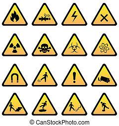 警告, 同时,, 危险, 签署