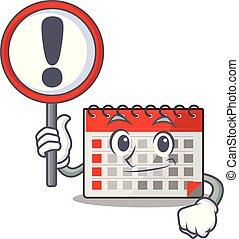 警告, 特徴, 幸せ, 印, 漫画, カレンダー