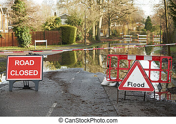 警告, 簽署, 上, 淹沒, 路
