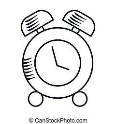 警報, アイコン, handdraw, 時計