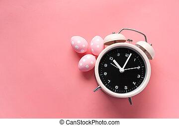 警報, ピンク, 概念, バックグラウンド。, イースター, 時計, 卵