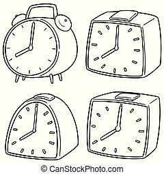 警報, ベクトル, セット, 時計