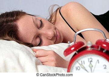 警報, 女, 睡眠, 時計