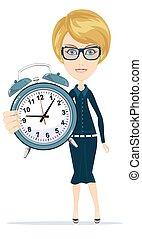 警報, 婦女, clock.