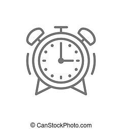 警報, 線, icon., 時計