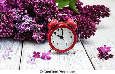警報, 花, ライラック, 時計