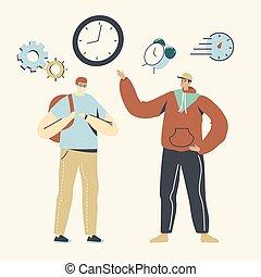 警報, 若い, から, 生徒, 動くこと, 大学, 人々, 急ぎ, 人, lesson., 時計, 時間, 特徴, マレ, の上, バックパック