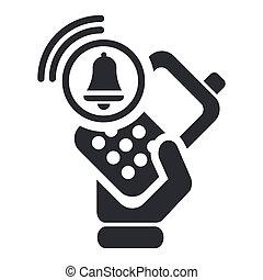 警報, 隔離された, イラスト, 電話, 単一, ベクトル, アイコン