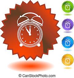 警報, starburst, セット, 時計, アイコン