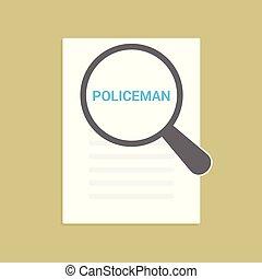 警官, ガラス, 光学, 言葉, 法律, 拡大する, concept: