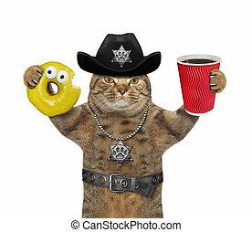 警官, コーヒー, ねこ, ドーナツ, 2