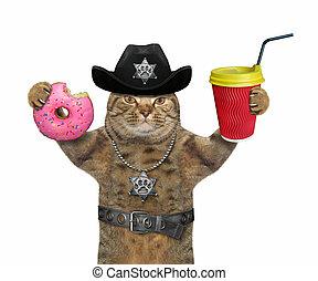 警官, コーヒー, ねこ, 3, ドーナツ