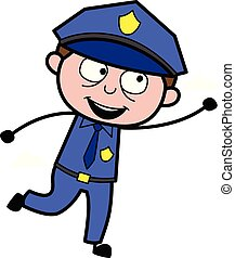 警官, ベクトル, 警官, -, イラスト, 跳躍, レトロ, 捕獲物