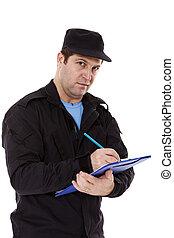 警官, 書きなさい, a, 切符, 隔離された, 白, 背景