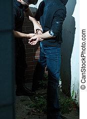 警官, handcuffing, 人