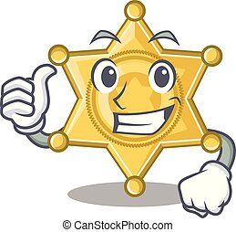 警察, の上, 親指, 星のバッジ, 漫画