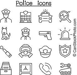 警察, アイコン, セット, 中に, 薄いライン, スタイル