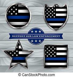 警察, サポート, バッジ, 旗, イラスト
