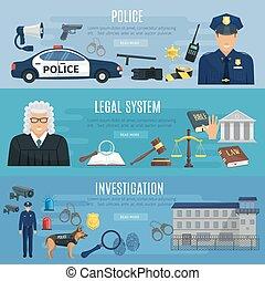 警察, システム, 法的, ベクトル, 裁判官, 旗