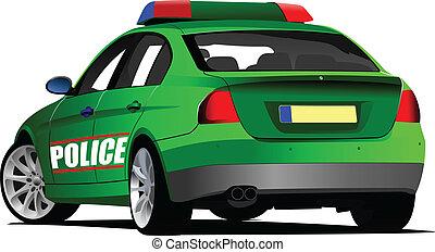 警察, ベクトル, 車。, illustration.