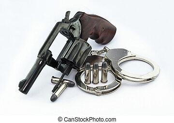 警察, リボルバー, 手錠, 銃弾, 背景, 白, ピストル