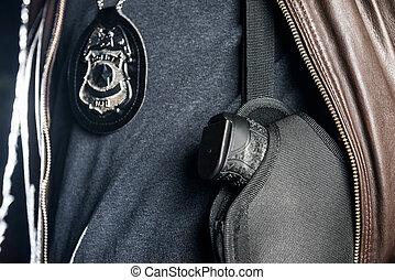 警察, 中央部, 銃, クローズアップ, 士官, ホルスター, 夜, バッジ