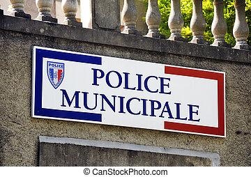 警察, 市の, フランス語, 印