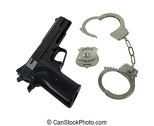警察, 手錠, バッジ, 銃
