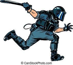 警察, 暴亂, 短棍
