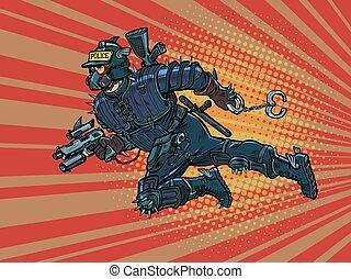 警察, 未来, cyberpunk., 警官, 極度