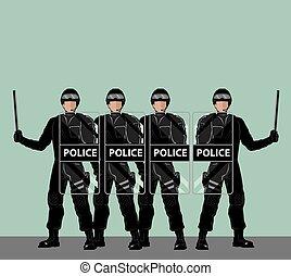警察, 盾, 暴亂