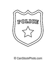 警察, 線, バッジ, アイコン