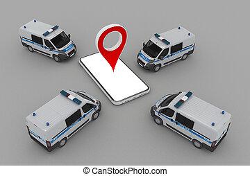 警察, 自動車, smartphone, グループ, マーカー, ピン