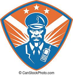 警察, 警官, 監視, 士官, セキュリティー, 頂上
