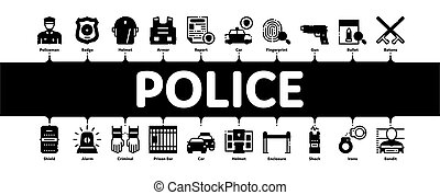 警察, infographic, 旗, ベクトル, 最小である